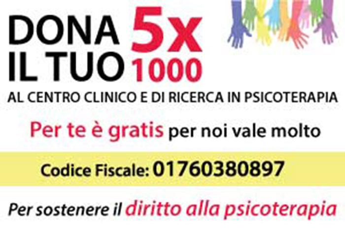 5x1000 Sostieni il Centro Clinico e di Ricerca in Psicoterapia con il tuo 5 per mille